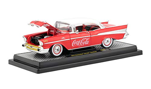 - 1957 Chevrolet Bel Air Hardtop Coca-Cola Red Limited Edition to 9,600 Pieces Worldwide 1/24 Diecast Model Car by M2 Machines 50300-RW03
