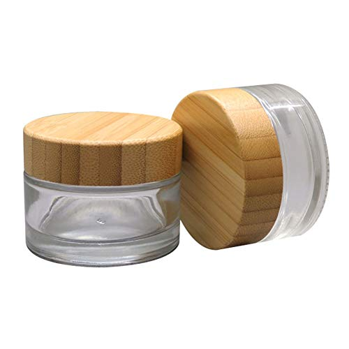 2Pcs 50ml Clear Empty Refillable Glass Bottles Round Cosmetic Jars Container Storage Pot with Natural Bamboo Lids and Sealing Inner Liner for Face Cream, Samples, Balms, Makeup Emulsion Beauty Case