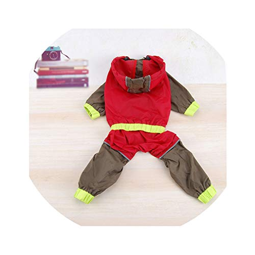 Pet Raincoat,Waterproof Dog Raincoat Coveralls for Dogs Pet Clothes Hoodies Pet Jumpsuit Suitable for All Kinds of Large Small Dog,Red,26