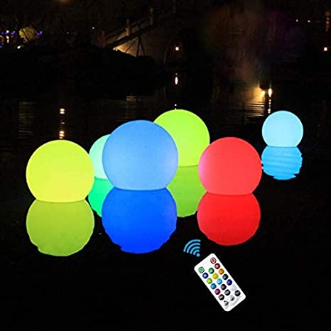 """Improved IP67 Full Waterproof Light Up Bath Toys,Night Light,Yard Pond Pool Party Decor Lights RF ,Upgrade 3/""""RGB Color Changing LED Pool Balls Battery Operated Furado Floating Pool Light with Remote"""