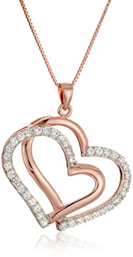 Tone 14k Gold Sapphire Two (14k Rose Gold Plated Sterling Silver Created White Sapphire Two Tone Double Open Heart Pendant Necklace, 18
