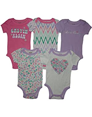 Baby Girls 5pc Short Sleeve Bodysuits, Pink, 3-6 Mos