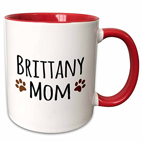 tany Spaniel Dog Mom Two Tone Mug, 11 oz, Red (Brittany Cup)