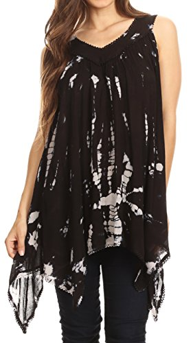 Sakkas 17790 - Nalu Sleeveless Relaxed Fit Multi Color Tie Dye V-Neck Blouse | Cover up - Black - (Crinkle Cover Up)