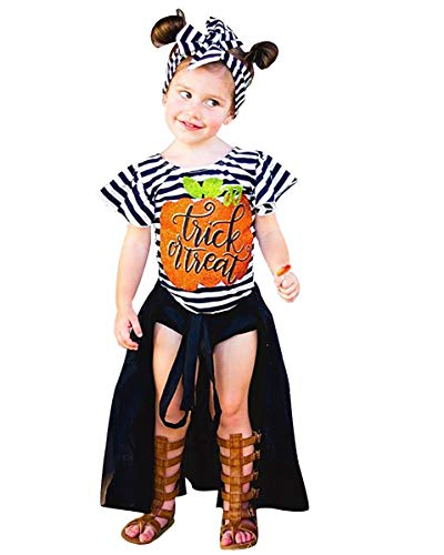 PVSECTOR Baby Girls Halloween Dress Pumpkin Ruffle Striped Tops+ Bandage Dress+ Briefs + Stripe Headband (White, 120(4-5T))