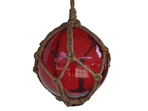 Hampton Nautical Red Japanese Glass Ball Fishing Float with Brown Netting Decoration 6""