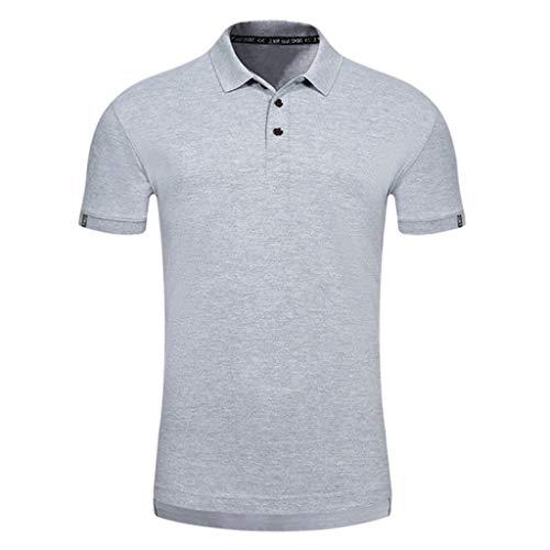 (SFE Fashion Shirts,Men Casual Summer Solid Turn-Down Collar Short Sleeve T-Shirt Tops Blouse)
