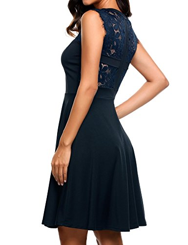 Elesol Women's Elegant Lace A-Line Sleeveless Pleated Cocktail Party Dress Navy Blue XL