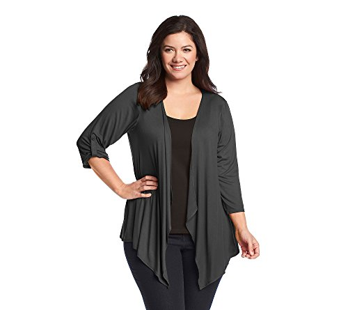 AGB Women's Plus Size Perfect Knit Jersey Cozy Cardigan, Anytime Charcoal 2X