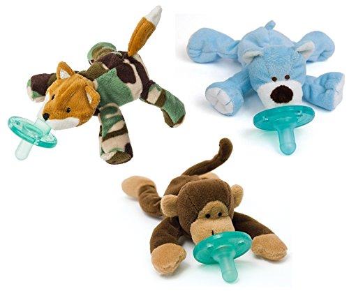 WubbaNub Infant Pacifier 3 Pack, Camo Fox/Bear/Monkey