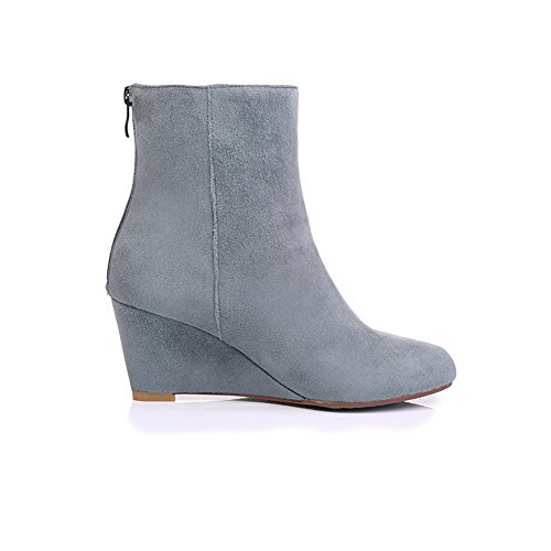 AmoonyFashion Wedge Toe Heels and Women's Slipping Gray Closed with Toe Round Sole Kitten Boots SzxrAqSCw
