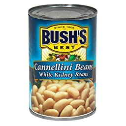 Bush\'s Best, Cannellini Beans White Kidney Beans, 15.5oz Can (Pack of 6)