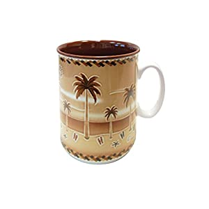 Mug Embossed Palm Tree Design Ceramic 12 oz Coffee - Tea Cup