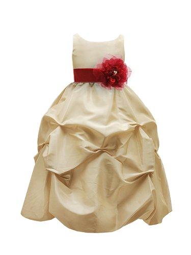 WonderfulDress Champagne Taffeta Bubble Flower Girl DressPICK YOUR SASH-Champagne/Red-12 (Taffeta Bubble Red)