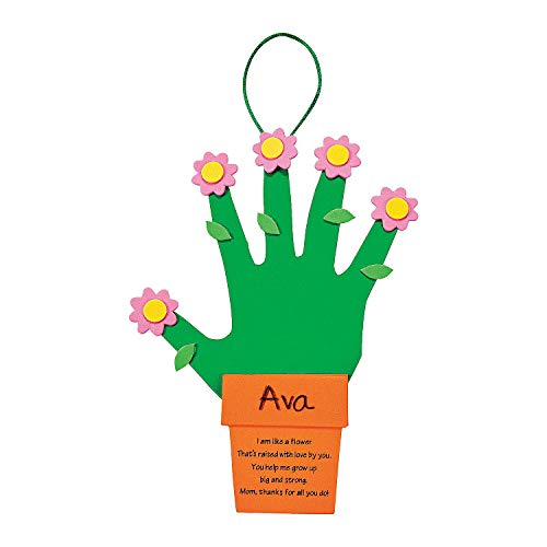 Fun Express Handprint Mother's Day Flowers Gift - Makes 12 (Craft Kits for Mother's Day) ()