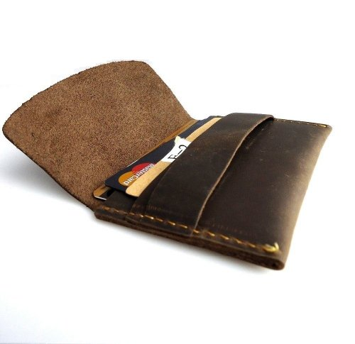 Genuine Natural Leather Handmade Mini Miniature Mens Wallet Money Id Credit Cards Holder Compact Retro