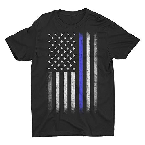 Premium Soft Ringspun USA Flag Blue Lives Matter Lightweight T-Shirt (Black, Medium)