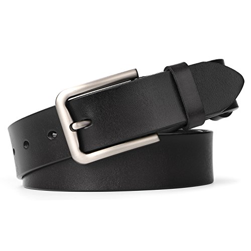 Women Leather Belt for Pants Dress Jeans Waist Belt with Brushed Alloy Buckle By (Ladies Leather Jeans)
