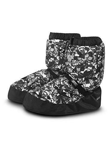 (Bloch Dance Women's Printed Warm Up Boot Slipper Floral Black S Medium)