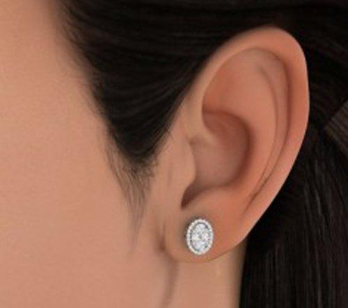 Or blanc 14K 0.892CT TW Round-cut-diamond (IJ | SI) Boucles d'oreille à tige