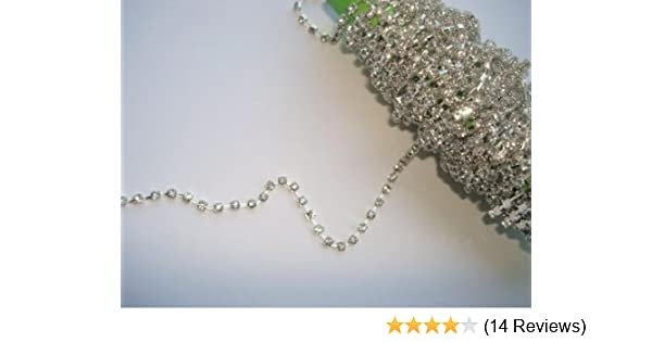 BUY TWO //ONE FREE BEAUTIFUL DIAMANTE GLASS TRIMMING 4 MM SILVER CHAIN