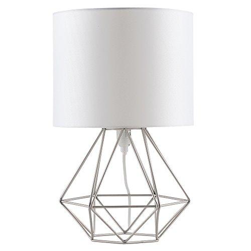 MiniSun - Moderna Lámpara de Mesa Blanca – Innovadora Base de Estilo Jaula - Pantalla Blanca- Iluminación Interior a buen precio