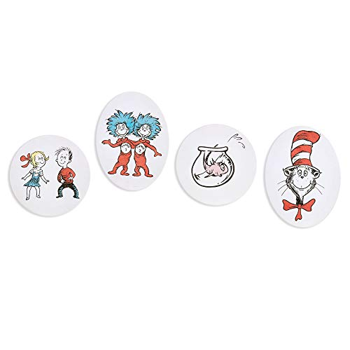 Patton Wall Decor Dr. Seuss 8x8 Cat in The Hat 4 Piece Stretched Canvas Art Set Wall Decor Red