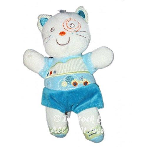 Peluche doudou CHAT bleu blanc - Kitchoun Kiabi Nicotoy - 24 cm 8535: Amazon.es: Bebé