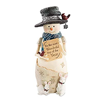 """Pavilion Gift Company Pavilion-It's The Most Wonderful Time of The Year-9 Inch Collectible Figurine 9"""" Snowman Holding Sign, Beige"""