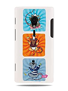 GRÜV Premium Case - 'Cool Funny Cartoon Mice' Design - Best Quality Designer Print on White Hard Cover - for Sony Xperia Ion LT28at, LT28i