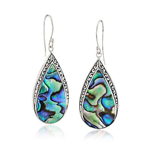 Ross-Simons Abalone Shell Bali-Style Teardrop Earrings in Sterling Silver