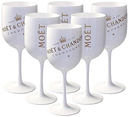 6 x Moët & Chandon Ice Impérial Copas de champán (acrílico, color blanco)