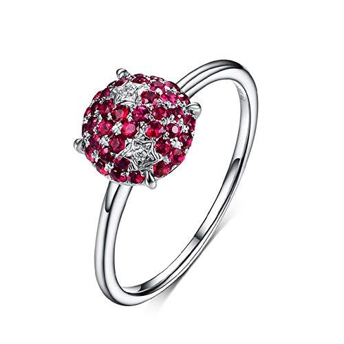 (Epinki Women 18K White Gold Ring, 0.39CT Round Shape Ruby Ring Eternity Bands for Women Size 4)
