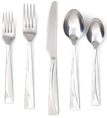 Cambridge Silversmiths Jasper Mirror 20-Piece Flatware Silverware Set, Stainless Steel, Service for 4, Includes Forks/Spoons/Knives
