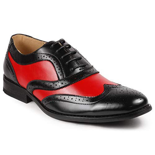 - Metrocharm MC145 Men's Two Tone Perforated Wing Tip Lace Up Oxford Dress Shoes (10, Black Red)