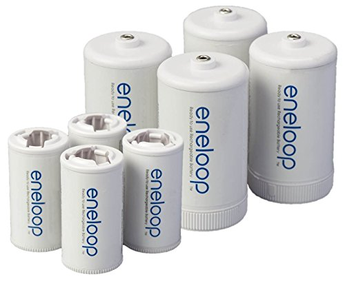 8 Panasonic Eneloop Spacers 4 C Size Spacers, and 4 D Size Spacers, for Use with Eneloop Ni-MH Rechargeable AA Battery Cells + Battery Case