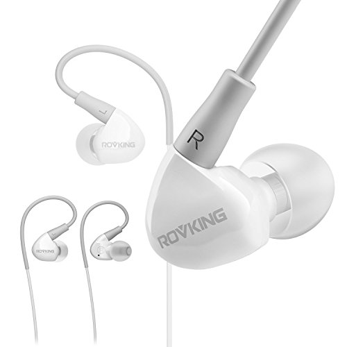ROVKING Earbuds Headphones Over Ear Wired Sweatproof with Microphone, In Ear Stereo Bass Sport Earphones for Running Jogging Gym Workout for iPhone Android iPod Samsung, (White Clip Style Headphones)