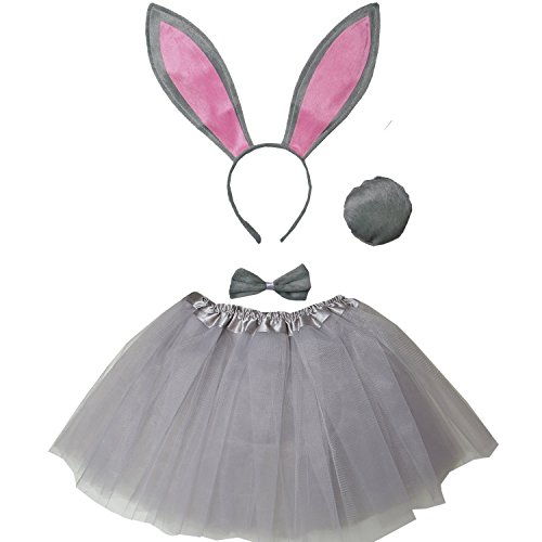 Kirei Sui Kids Costume Tutu Set Gray Bunny]()