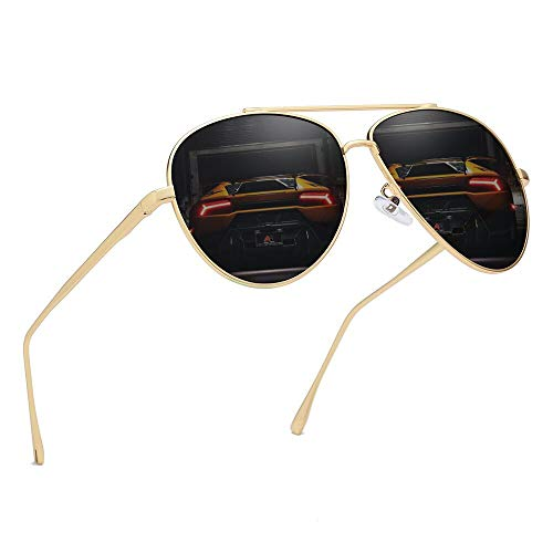 Premium Military Polarized Aviator Sunglasses Metal Frame Brand Unique Design Sun glasses For Mens Womens 100% UV Protection (Gold Frame/Gray Lens, ()