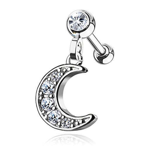 MoBody Clear CZ Jeweled Dangle Crescent Tragus Earring Surgical Steel Cartilage Helix Piercing Stud 16G (Silver-Tone)
