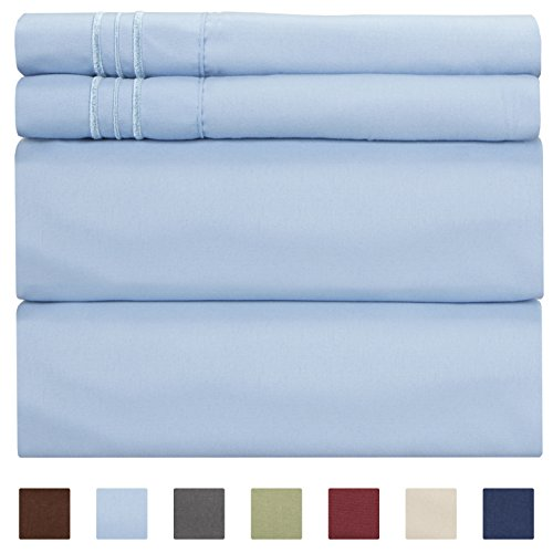 - California King Size Sheet Set - 4 Piece - Hotel Luxury Bed - Extra Soft - Deep Pockets - Breathable & Cooling - Wrinkle Free - Comfy - Light Blue Bed Sheets - Cali Kings Sheets Baby Blue PC