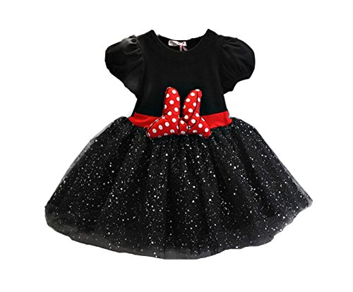 Mickey Mouse Costume Dancing (Rush Dance Happy Birthday Girl Sparkle Mickey Minnie Tutu Dress Petti Skirt Set (3T, Black with Red Bow))