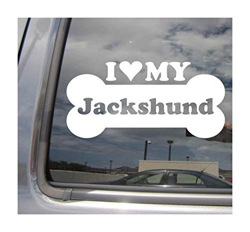 (I Heart Love My Jackshund - Dog Bone Jack Russell Terrier Dachshund Designer Mixed Hybrid Breed Cars Trucks Moped Helmet Auto Automotive Craft Laptop Vinyl Decal Store Window Wall Sticker)