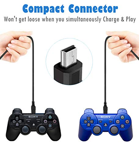2 Pack 10ft PS3 Controller Charging Cable, USB 2.0 Type A to Mini B Cable Sync Cord for Sony Playstation 3 PS3/ PS3 Slim…