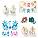 Baby's Boys First Birthday Party Decoration Bundle 37 Piece Crown Banner Balloons Cupcake Picks Blue