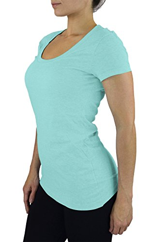Belle Donne- Women's Cotton Short Sleeve Stretchy Scoop Neck Yoga Tshirt- Oasis / M