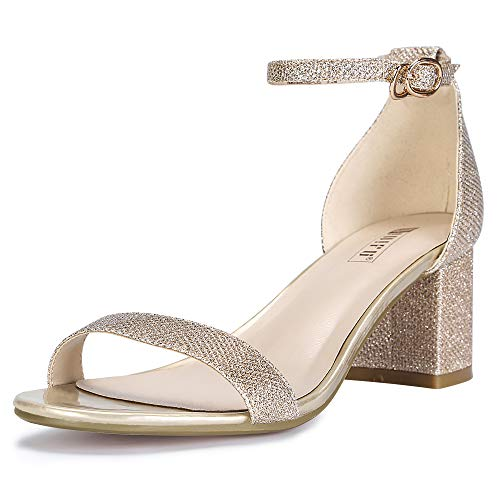 (IDIFU Women's IN2 Cookie-LO Low Heel Ankle Strap Dress Pump Sandal (Gold Glitter, 6 B(M) US))