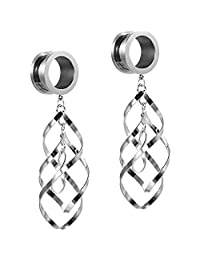 COOEAR Stainless Steel Gauges for Ears Screw Back Plugs and Tunnels Piercing Jewelry Hot Dangle Expander Stretchers 2g to 1 inch