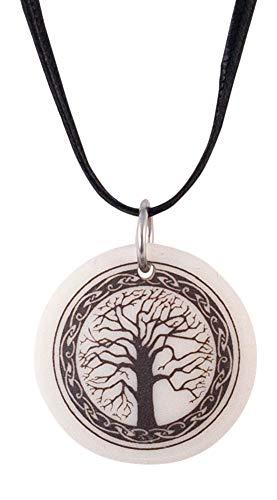 Tree of Life Celtic Round Porcelain Pendant On Braided Cord Irish Scottish Wisdom Symbol