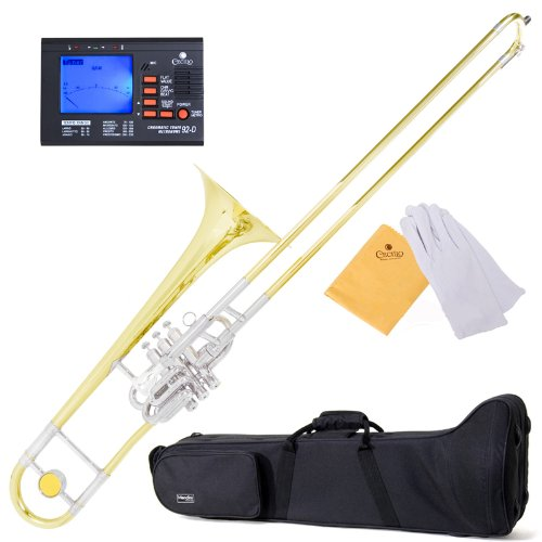 Mendini MTB-43 Intermediate B Flat Tenor Valve/Slide Combo Trombone with Monel Valves aka ''Super-Bone'' by Mendini